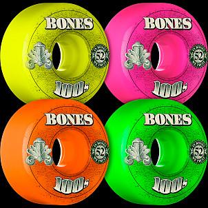 BONES 100's OG Formula 52x34 V4 Skateboard Wheel 100a 4pk Asstd