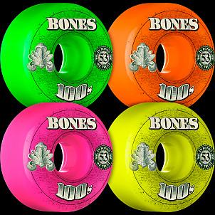 BONES 100's OG Formula 53x34 V4 Skateboard Wheel 100a 4pk Asstd