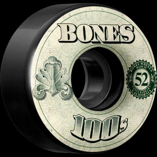 BONES 100's OG Formula 52x34 V4 Skateboard Wheel 100a 4pk Black