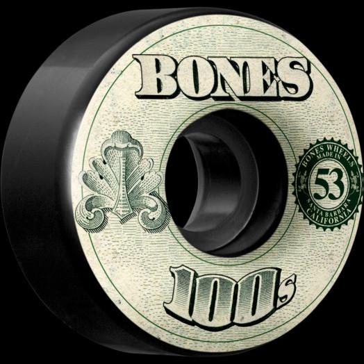 BONES 100's OG Formula 53x34 V4 Skateboard Wheel 100a 4pk Black