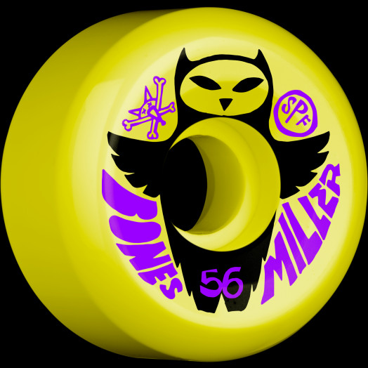 BONES SPF Pro Miller Owl 56x32 P5 Skateboard Wheel 84B 4pk Yellow