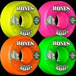 BONES 100's OG Formula 52x34 V1 Skateboard Wheel 100a 4pk Asstd