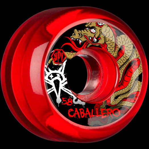 BONES SPF Pro Caballero Dragon 58x33 P5 Skateboard Wheel 84B 4pk Clear Red