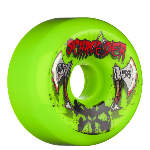 BONES WHEELS SPF PRO Schroeder Axe 58mm Green 4pack